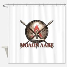 Molon Labe - Spartan Shield and Swords Shower Curt