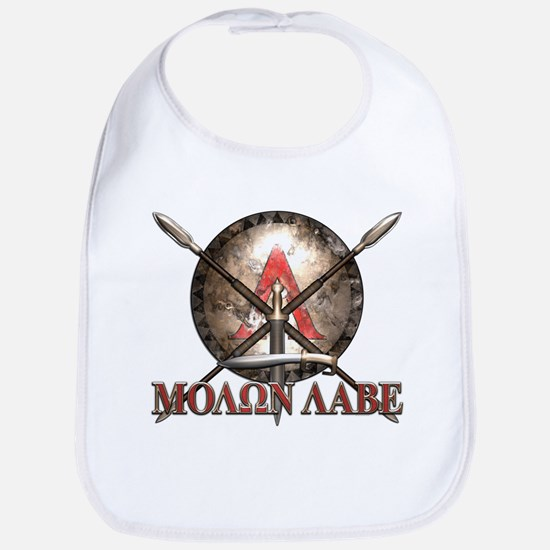Molon Labe - Spartan Shield and Swords Bib
