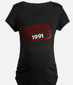 Stamped Made In 1991 Dark Maternity T-Shirt