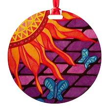 Mosaic Glass Sun and Butterflies Ornament