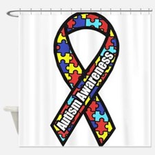 awareness ribbon scanned 2.png Shower Curtain