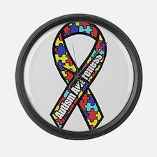 awareness ribbon scanned 2.png Large Wall Clock