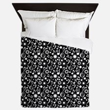 Music Notes And Clefs Queen Duvet