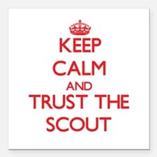Keep Calm and Trust the Scout Square Car Magnet 3""