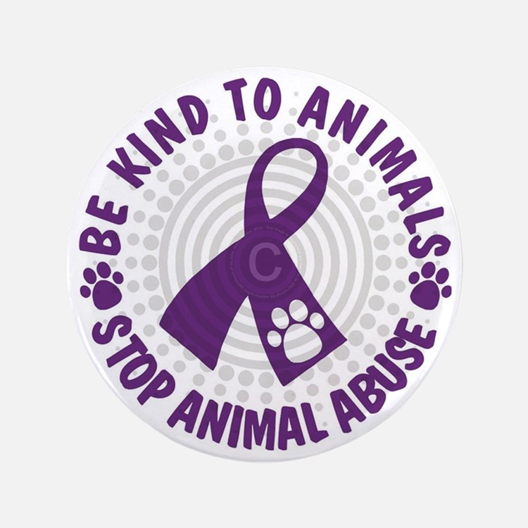 "Purple Ribbon Be Kind to Animals 3.5"" Button"