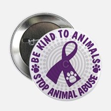 """Purple Ribbon Be Kind to Animals 2.25"""" Button"""