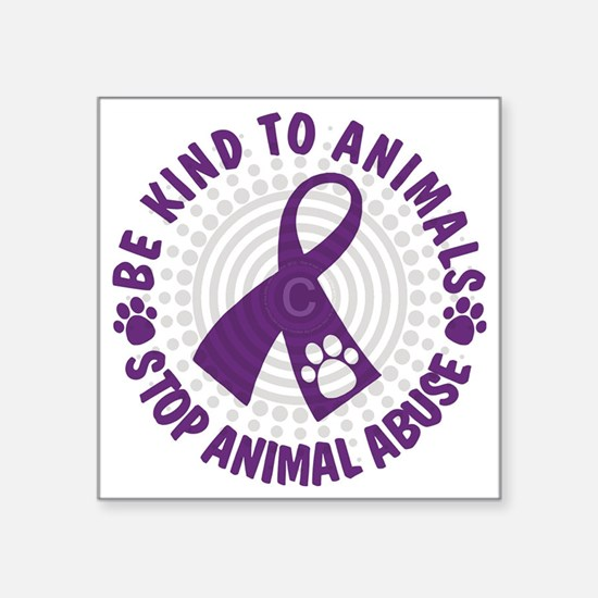 "Purple Ribbon Be Kind to An Square Sticker 3"" x 3"""