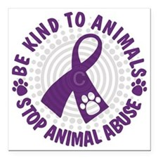 "Purple Ribbon Be Kind to Square Car Magnet 3"" x 3"""
