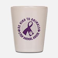 Purple Ribbon Be Kind to Animals Shot Glass