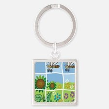 BEES in the GARDEN Square Keychain