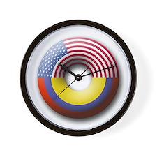 USA - Colombia Wall Clock