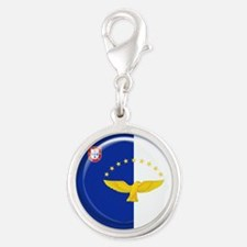Azores islands flag Silver Round Charm