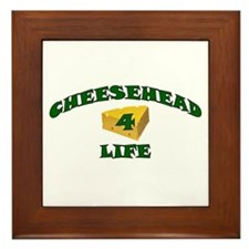 """Cheesehead """"4"""" Life Framed Tile"""