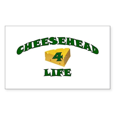 "Cheesehead ""4"" Life Rectangle Sticker"