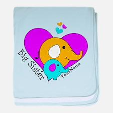 Big Sister Elephant Personalized baby blanket