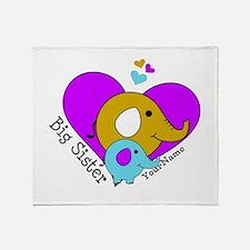 Big Sister Elephant Personalized Throw Blanket