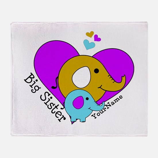 Big Sister Elephant Personalized Throw Blanket
