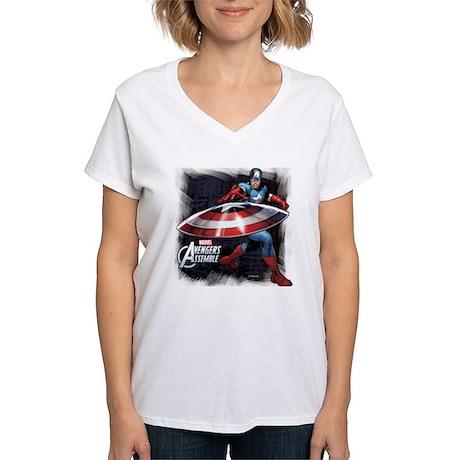 Captain America with Shield Women's V-Neck T-Shirt