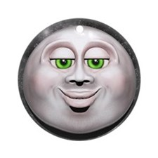 Full Moon Smiling Face 3D Ornament (Round)
