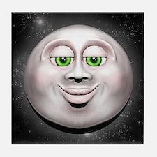 Full Moon Smiling Face 3D Tile Coaster