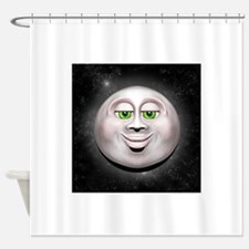 Full Moon Smiling Face 3D Shower Curtain