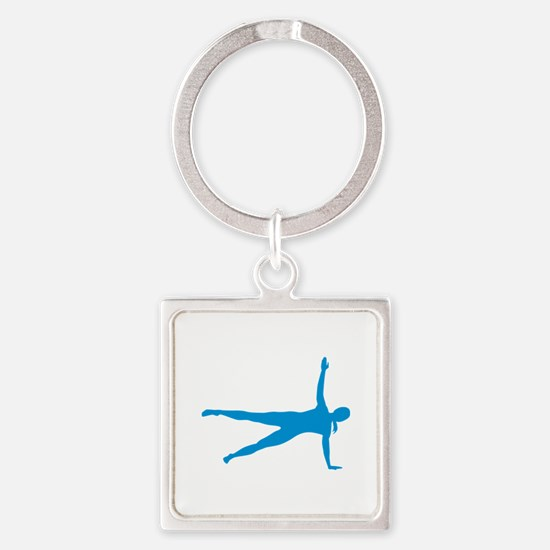 Pilates woman Square Keychain