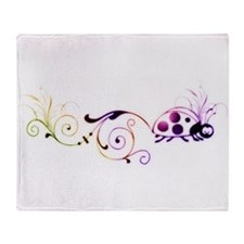 Groovy ladybug with fun tail Throw Blanket