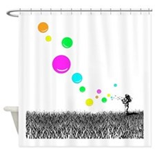 Girl Blowing Bubbles Shower Curtain