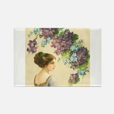 Edwardian Lady And Purple Flowers Magnets