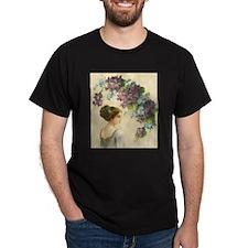 Edwardian Lady And Purple Flowers T-Shirt