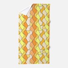 retro pattern Owen orange Beach Towel