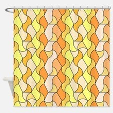 retro pattern Owen orange Shower Curtain