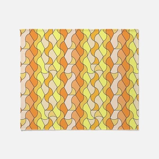 retro pattern Owen orange Throw Blanket