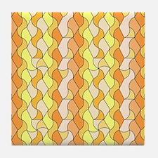 retro pattern Owen orange Tile Coaster
