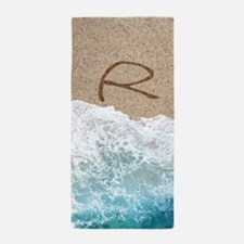 LETTERS IN SAND R Beach Towel