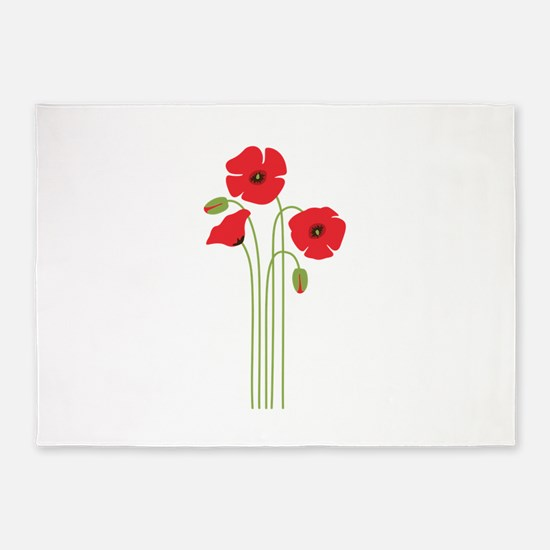 Poppy Flower 5'x7'Area Rug