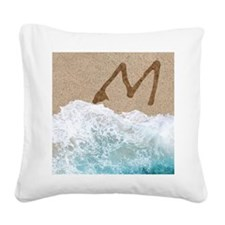 LETTERS IN SAND M Square Canvas Pillow