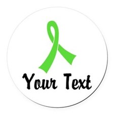 Personalized Lime Green Ribbon Aw Round Car Magnet