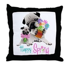 Happy Spring Pugs and Flowers Throw Pillow