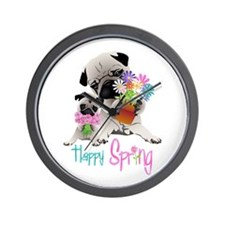 Happy Spring Pugs and Flowers Wall Clock