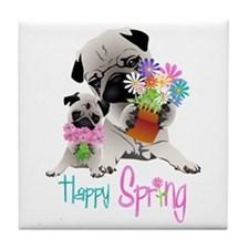 Happy Spring Pugs and Flowers Tile Coaster