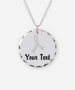 Personalized Pearl Ribbon Aw Necklace Circle Charm