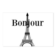 Bonjour Eiffel Tower Postcards (Package of 8)