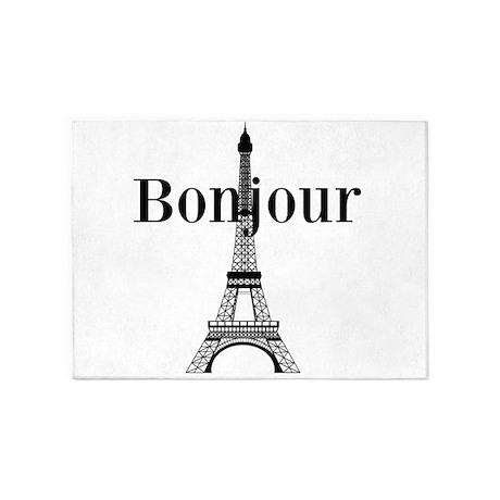 Bonjour Eiffel Tower 5 X7 Area Rug By Beachbumming