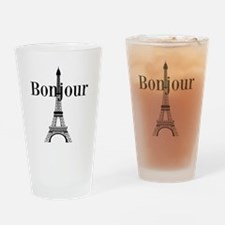 Bonjour Eiffel Tower Drinking Glass