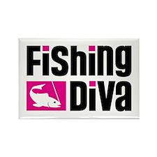 Fishing Diva Rectangle Magnet (100 pack)