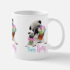 Happy Spring Pugs and Flowers Mug