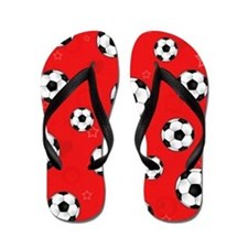 Cute Soccer Ball Print - Red Flip Flops