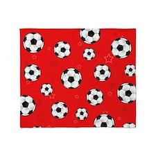 Cute Soccer Ball Print - Red Throw Blanket
