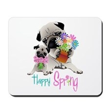 Happy Spring Pugs and Flowers Mousepad